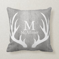 Light Grey Wood White Deer Antlers Personalized Throw Pillow