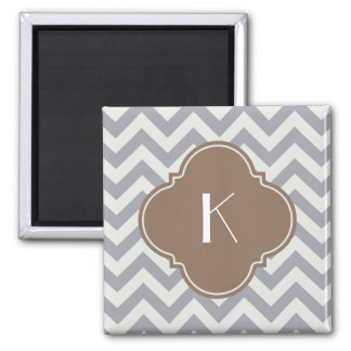 Light Grey Zigzag Custom Monogram 2 Inch Square Magnet