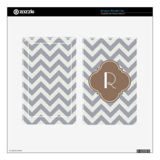 Light Grey Zigzag Custom Monogram Decal For Kindle Fire