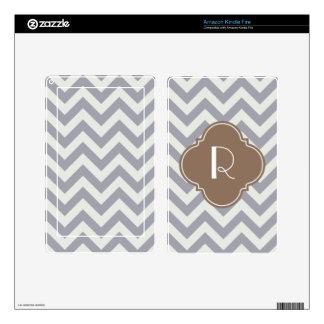 Light Grey Zigzag Custom Monogram Decal For Kindle Fire