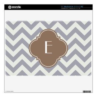 Light Grey Zigzag Custom Monogram MacBook Air Skin