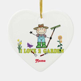 """Light Guy Blonde Gardener """"I Love 2 Garden"""" Ceramic Ornament"""