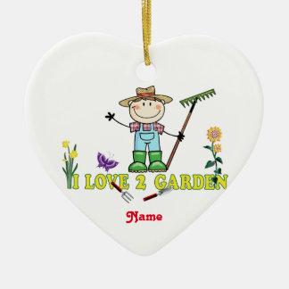 """Light Guy Brunette Gardener """"I Love 2 Garden"""" Ceramic Ornament"""