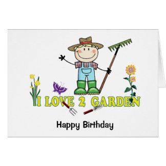 Light Guy Farmer Blonde I Love 2 Garden Card