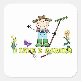 Light Guy Farmer Blonde I Love 2 Garden Square Sticker