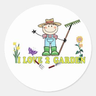 Light Guy Farmer Brunette I Love 2 Garden Classic Round Sticker