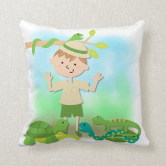 Light Hair Boy on Safari Pillow