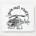 Light Helicopter Girl Mouse Pad
