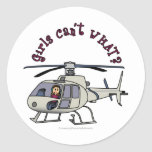 Light Helicopter Girl Round Sticker