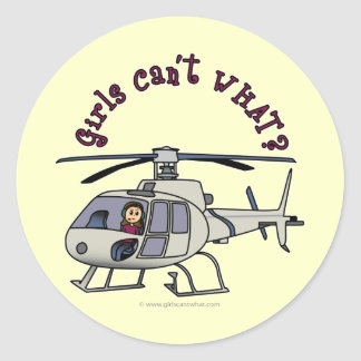Light Helicopter Pilot Girl Classic Round Sticker