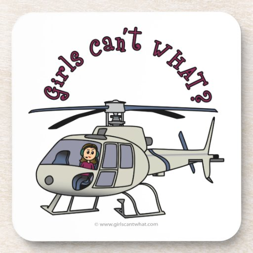Light Helicopter Pilot Girl Drink Coasters