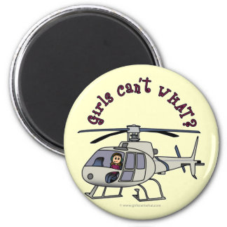 Light Helicopter Pilot Girl Fridge Magnet