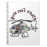 Light Helicopter Pilot Girl Spiral Notebook