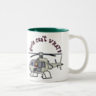 Light Helicopter Pilot Girl Two-Tone Coffee Mug