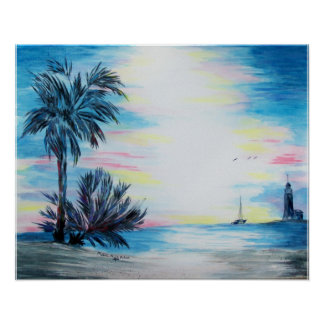 Light House and Palm Trees on the Beach Poster