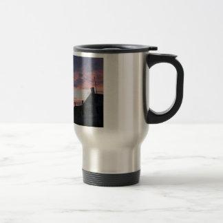 light house at dusk travel mug