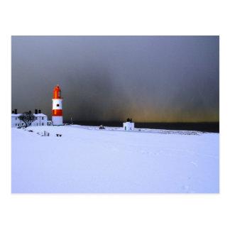 Light House in Winter Snow Postcard