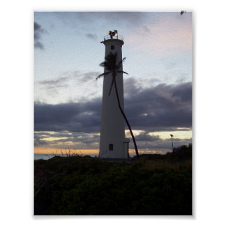 Light House on Point Poster