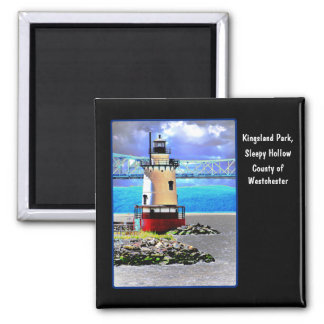Light house, Westchester, NY 2 Inch Square Magnet