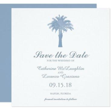 Beach Themed Light Hydrangea Blue Palm Tree Watercolor Wedding Card
