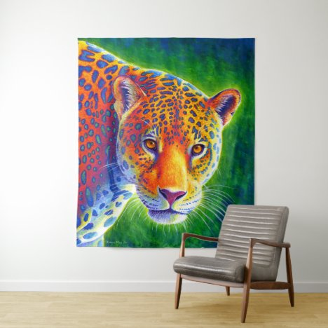 Light in the Rainforest Colorful Jaguar Tapestry