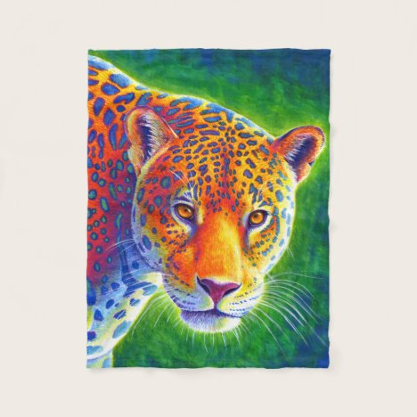 Light in the Rainforest Jaguar Fleece Blanket