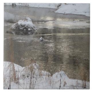 Light Increasing Winter Stream Photograph Large Square Tile