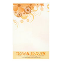 Light Ivory Floral Hibiscus Florist Writing Paper