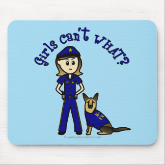 Light K9 Police Girl Mouse Pad