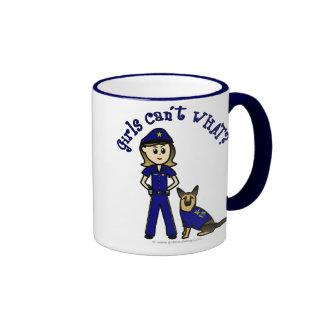 Light K9 Police Girl Ringer Coffee Mug