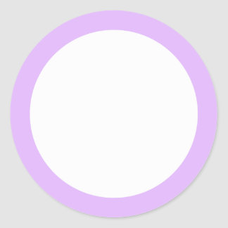 Light lavender purple solid color border blank classic round sticker