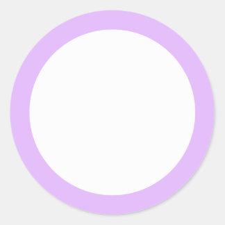 Light lavender purple solid color border blank round sticker