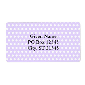 Light Lavender with White Polka Dots Label