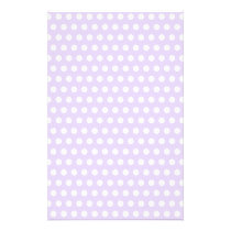 Light Lavender with White Polka Dots Stationery