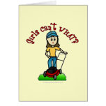 Light Lawn Care Girl Greeting Cards
