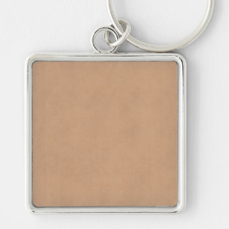 Light Leather Brown Vintage Parchment Paper Silver-Colored Square Keychain