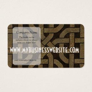 Light Leather on Black Celtic Knot Business Card