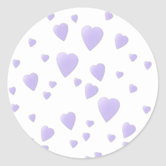 Light Lilac and White Love Hearts Pattern. Classic Round Sticker