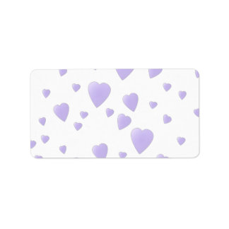 Light Lilac and White Love Hearts Pattern. Custom Address Labels