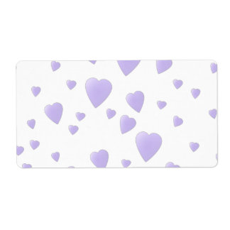 Light Lilac and White Love Hearts Pattern. Shipping Label