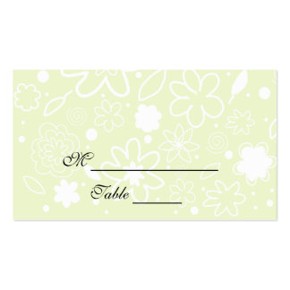 Light Lime Green and White Floral Placecards Business Card Template