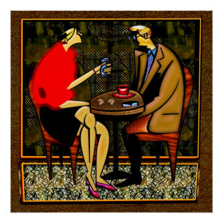 Light lunch couple red sweater red cup blue cup poster