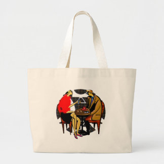 Light lunch red cup blue cup large tote bag