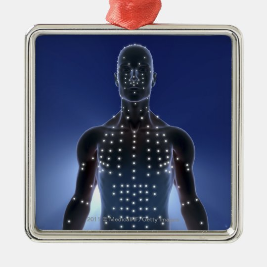 Light map of acupuncture points metal ornament