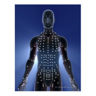 Light map of acupuncture points postcard
