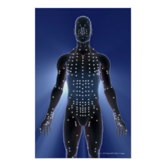 Light map of acupuncture points poster