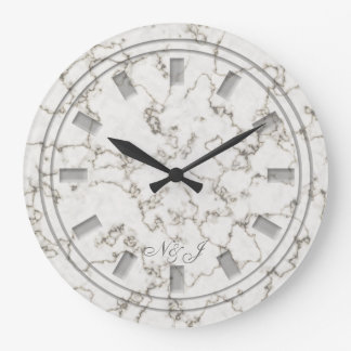 Light marble effect customised wall clock