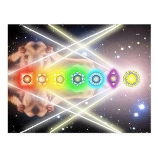 Light  meditation chakra illumination postcard