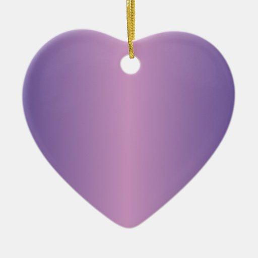 Light Medium Orchid and Dark Slate Blue Double-Sided Heart Ceramic Christmas Ornament