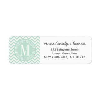 Light Mint Chevron Zigzag Personalized Monogram Label